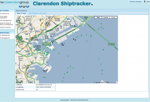 A screenshot of the Shiptracker Java EE Software with a map of Tokyo in the center